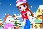 Mädchen mit Schneemann